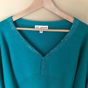 St John Evening green teal medium sweater jeweled